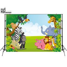 2019 фон баннера HUAYI Fun Jungle animals Photography backdrops Photo background Baby birthday banner Dessert table decoration wall XT-6521 дешево фон баннера