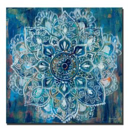 2019 grande pittura moderna astratta di fiore Abstract Mandala Flower Wall Poster And Prints Large Size Colore brillante Modern Flower Canvas Painting Cuadro Pictures Home Decor grande pittura moderna astratta di fiore economici