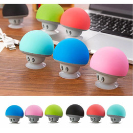 Wholesale small speakers for mobile - Small mushroom sucker Bluetooth speaker small mushroom head sound Silica gel suction speaker phone small speaker stereo
