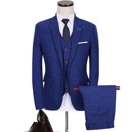 Wholesale Flattering Plus Size Dresses - 3pc Suit Men 2017 Autumn New Formal Wear Business Men Suits Slim Fit Casual Wedding Suits Dress Groom Plus Size Blazer Set 5XL-M