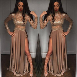Wholesale High Neck Sparkle Formal Dress - 2k18 New Black Girls Sparkling Sequined Sheer Long Sleeves Prom Dresses High Neck Split Formal Party Evening Gowns