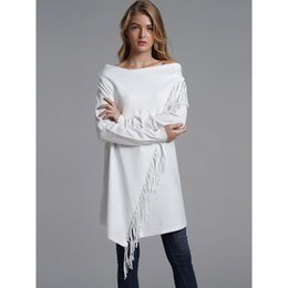 3434f666b Mulheres Longas Camisolas Casuais Boho OL Grandes Tamanhos Solto Cardigan  Simples Borla Feminino Moda Inverno Preto Tops Malhas Branco camisola branca  ...
