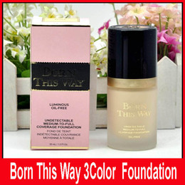 Wholesale Foundation Coverage - Factory Price Faced Cosmetic Born This Way COVERAGE Liquid Foundation 3 color 30ML Powder DHL Ship