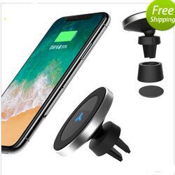 Wholesale Uk Degrees - For iphone 8 X Fast Wireless Charger 9V 1.67A 360 Degree Rotation QI Standard Phone Car Magnetic Wireless Charger For Samsung S7 S8 Note8