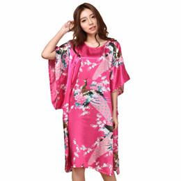 86 Verano Hot Pink Sexy Rayón de Seda Vestido de Inicio de Las Mujeres Camisón de Verano Sleepshirt Robe vestido Kimono Albornoz Más Tamaño 6XL desde fabricantes