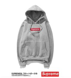 Wholesale Cute Pullover Sweatshirts - 12colors supereme Long sleeve men embroidery and velvet padded sup hood Sweatshirts Cute Boyfriend Style Harajuku thin Hoodies wholesale