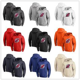 Roter teufel hoodie online-Herren New Jersey Devils Fanatics Branded Schwarz Asche Weiß Rot Orange Stickerei Primär Logo Pullover Hoodies Langarm Outdoor Wear
