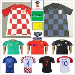 Wholesale anti shirt - 2018 World Cup Soccer Jersey 10 MODRIC 4 PERISIC 7 RAKITIC 17 MANDZUKIC 11 BROZOVIC 18 REBIC Custom Home Red Blue Football Shirt