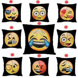 Wholesale Pillows Wholesale - Sequins Pillow Case Emoji Mermaid Cushion Gradient color Change Face Double Color Pillow Cover Soft Car Sofa Ornament Bright Covers 3002058
