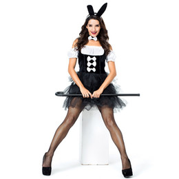 bunny cosplay dress Coupons - 1 Set Women Sexy Bunny Girl Costume Nightclub Bar Outfit Party Bunny Cosplay Fancy Dress With Headwear + neck ring