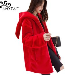 5d2792c5957 UHYTGF New Fashion Cute rabbit ears plush Coat Women Autumn Winter Faux fur  Hooded Warm Outerwear High quality Plus sizeCoat 941