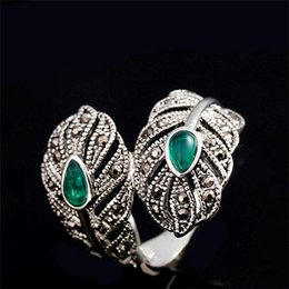 Wholesale Lady Ring Green Stone - whole saleH:HYDE Vintage Jewelry Retro Silver Color Green Stone Leaf Rings Women Open Cuff Cocktail Ladies Rings