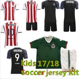 Wholesale Chivas Soccer - Kids Kits Mexico Camiseta de futebol 2017 Chivas de Guadalajara Youth Boy Soccer Jerseys 17 18 sets with Shorts uniform Football Shirts