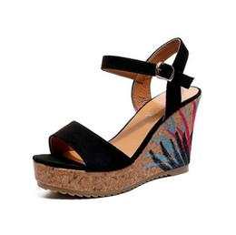 I cunei in pelle nubuck online-Nuovo arrivo Estate Ladies Shoes Leather Sandali donna Open Toe Fish Head Piattaforma moda Donna Tacchi alti Zeppe Sandali Scarpe