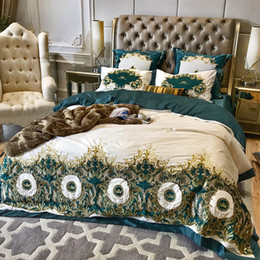 New  Green 120S Egyptian cotton Embroidery Royal Bedding sets Queen King Best Duvet cover Bed sheet set Pillowcases 4/6pcs от