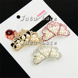 Wholesale Diamond Wedding Invitation Cards - Wedding Invitation Card Crown Rhinestone Button Diamond with Pearl Center for Headband Flower Fashion Headbands Solid Headwear