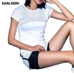 Wholesale Sexy Sportswear For Women - Wholesale-MAIJION Sexy Mesh Breathable Yoga Shirts Tops Women Quick Dry Fitness Sports T Shirt For Gym Running Tops Female Sportswear
