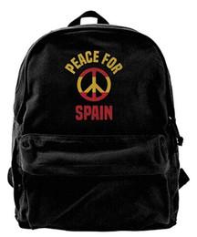 Borse spagna online-Peace For Spain Pray For Spain Unisex Vintage Canvas Backpack Zaino da viaggio Borsa per laptop Daypack Nero