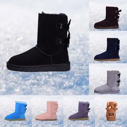 Botas de piel azul online-Original UGG mujer invierno botas castaño negro gris rosa diseñador para mujer botas de nieve tobillo rodilla bota tamaño 5-10 envío rápido