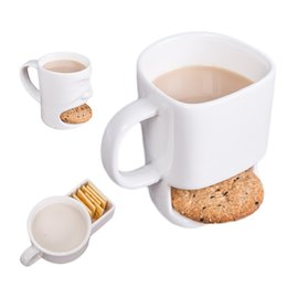 Wholesale Ceramic Mug Stainless Steel - New 3 Styles Ceramic Mug Coffee Biscuits Milk Dessert Cup Tea Cups Bottom Storage for Cookie Biscuits Pockets Holder