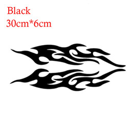 Wholesale Vinyl Hood Decal - 2pcs Universal Car Sticker Styling Engine Hood Motorcycle Decal Decor Mural Vinyl Covers Auto Flame Fire Sticker Car-styling