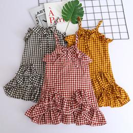 Wholesale singlets girls - Babies Plaid Ruffles Dresses Baby Girl Clothes Fashion Singlet Dress Girl Summer Sleeveless Dress 2018 Kids Clothing