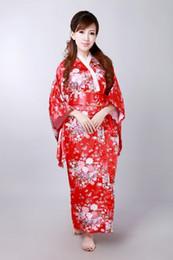 Kimono di seta Yukata giapponese tradizionale di tradizione asiatica asiatica rossa originale con Obi One size H0044-C Spedizione gratuita cheap red silk yukata da yukata seta rossa fornitori