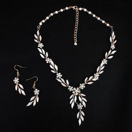 Wholesale Bridal Jewelry Sets Korean - 2018 Korean Style Gold Leaves Earring Necklace Set Headban HeadPiece Rhinestone Crystal Flower Faux Pearls Bridal Party Bridal Jewelry
