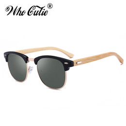 Wholesale wooden shades - 2018 Square Handmade Bamboo Sunglasses Men Women Brand Designer Club Master Vintage Rivet 3016 Hot Rays Sun Glasses Shades