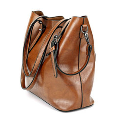Wholesale Guangzhou Leather - Guangzhou 2018 new bucket bag in spring and summer Europe and America big bag shoulder Messenger bag ladies handbag
