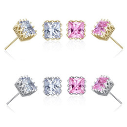 Wholesale cheap cubic zirconia earrings - Wholesale cheap gold plated square zircon crown stud earrings fashion party jewelry engagement gift for women mixed colors free shipping