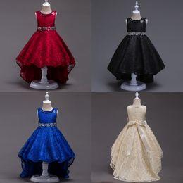 vestidos de casamento lilás de prata Desconto Elegante Princesa Azul Royal Trem Preto Sem Mangas Faixa Frisado Vestidos Da Menina de Flor Festa de Casamento Vestido Formal Vestido De Menina Pageant Namorada F709