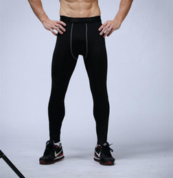 Wholesale mens compression leggings - Free Shipping mens compression pants sports running tights basketball gym pants bodybuilding joggers skinny leggings with logos