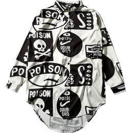 Wholesale White Blouses For Girls - Women Fashion Chiffon Blouse 2018 Spring Summer Skull Pattern Print Loose Long Sleeve Shirt for Girls Oversized Casual Top White