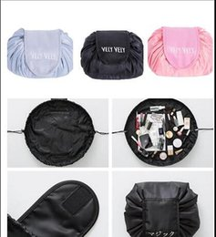 Wholesale Sitting Bags - Hot Lazy Vely Vely Portability Magic Travel Pouch Cosmetic Bag Portable Drawstring Makeup Bags Storage Bags