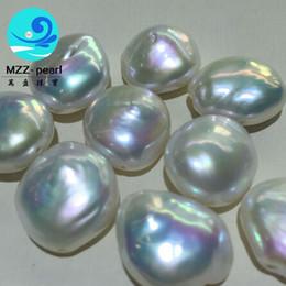 Argentina Perlas de agua dulce de 14 mm con perlas de agua dulce irregulares blancas grandes y gruesas, gruesas y perfectas para hacer colgantes y aretes Suministro
