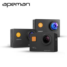 Casco de deporte cámara de vídeo de acción online-Apeman cámara de acción A66 A70 A80 4K 1080P hd deporte impermeable casco de cámara de vídeo con videocámara nueva caja de una batería