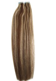 Wholesale Highlight Brown Hair - Factory Wholesale Price 100g Tape in Remy Human Hair Brown Blonde Mixed Color Tape on Highlighted Color Human Hair Extension P6 613