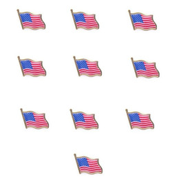 Wholesale flag pin badges - Wholesale- 10PCS American Flag Lapel Pin United States USA Hat Tie Tack Badge Pin