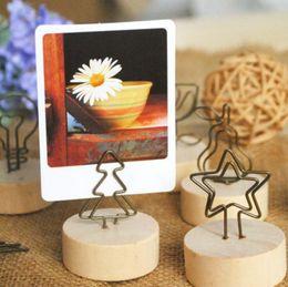 2019 clips de madera diy Creativo Natural de madera lugar titular de la tarjeta / Photo Clip Holder DIY Memo Clips boda mesa decoración favores clips de madera diy baratos