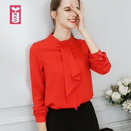 Wholesale womens office blouse - Export Sweet Lovely Office Lady Tie Bow Red Long Sleeve Blouse Womens Chiffon Shirts Girl Loose Tops Tees Summer
