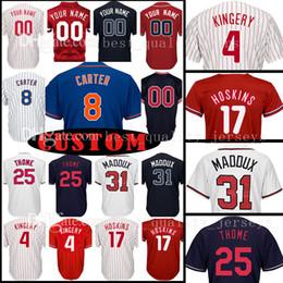Wholesale Atlanta Baseball Jersey - Custom Men's 17 Rhys Hoskins 4 Scott Kingery Jersey 8 Gary Carter 25 Jim Thome 31 Greg Maddux Baseball Jerseys New York Cleveland Atlanta