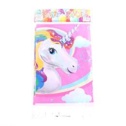 2019 toalha de crochet quadrada 6 pçs / lote Unicorn Tema Toalha De Mesa De Plástico Dos Desenhos Animados Crianças Baby Shower Feliz Aniversário Para O Menino Menina Presente Decoração de Festa Suprimentos