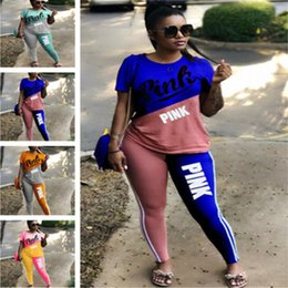 Wholesale Assorted Sports - Women Summer Love PINK Letter Tracksuit Assorted Colors T-shirt+ Pants Tights Outfit Sets Two Piece Sportswear GYM Sport Jogger Track Suits