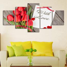 Rose rosse muro floreale online-Con amore rose rosse San Valentino Presente 5 pezzi Quadri su tela HD Printed Room Home Decor Wall Art Non incorniciato