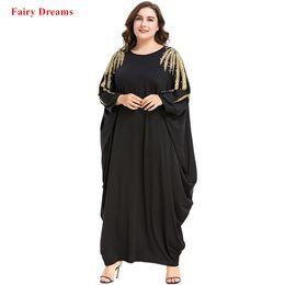 ef17059959c Noir Abayas Perles Femmes Islamique Vêtements Musulman À Manches Longues Maxi  Dress Printemps Automne Kaftan Dubaï Malaisie Turquie Caftan Robe