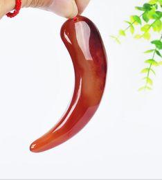 2019 красный перец для оптовой продажи Ремесла природные мужчины и женщины агат резные красный перец кулон оптом скидка красный перец для оптовой продажи