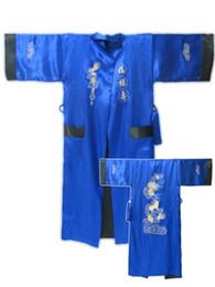 hombres túnicas chinas Rebajas Los hombres del estilo chino de seda del satén robe el camisón de dos lados del bordado del dragón Kimono vestido de baño Casual Masculino ropa para el hogar desgaste suelto