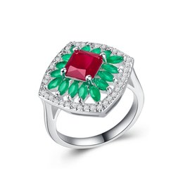 Wholesale lady ring ruby - Exquisite Women Sunflower Ruby Cz Jewelry 925 Silver Filled Wedding Ring For Lady Engagement Gift Sale Size 6-10