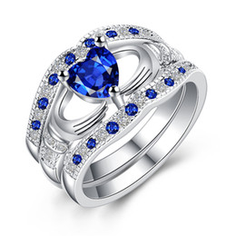 Wholesale Sapphire Engagement Ring Sets - Top Quality 925 Sterling Silver Engagement Rings AAA CZ Sapphire Stones Rings for Woman Fine Jewelry